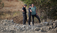 Pictured: Search officers at the second site in Kos, Greece. Monday 10 October 2016<br />