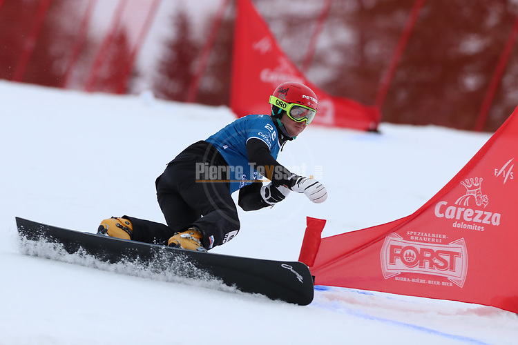 Parallel Slalom event of the FIS Snowboard World Cup on 19/12/2019 in Carezza, Italy.<br />  Zan Kosir (SLO)