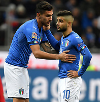 Lorenzo Pellegrini and Lorenzo Insigne of Italy talk during the Nations League League A group 3 football match between Italy and Portugal at stadio Giuseppe Meazza, Milano, November, 17, 2018 <br /> Foto Andrea Staccioli / Insidefoto