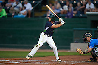 Vermont Lake Monsters outfielder Brett Siddall (13) at bat during a game against the Hudson Valley Renegades on September 3, 2015 at Centennial Field in Burlington, Vermont.  Vermont defeated Hudson Valley 4-1.  (Mike Janes/Four Seam Images)
