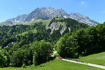 The riders pass through stunning scenery during Stage 8 of the Criterium du Dauphine 2017, running 115km from Albertville to Plateau de Solaison, France. 11th June 2017. <br /> Picture: ASO/A.Broadway | Cyclefile<br /> <br /> <br /> All photos usage must carry mandatory copyright credit (&copy; Cyclefile | ASO/A.Broadway)
