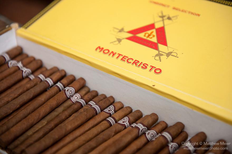 Havana, Cuba; a box of Montecristo cigars at Ron's Tabaco Cafe