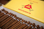 Havana, Cuba; a box of Montecristo cigars at Ron's Tabaco Cafe