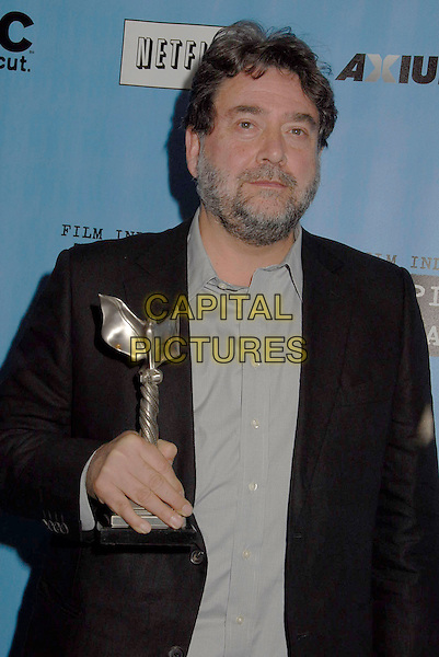 GUILLERMO NAVARRO.The 2007 Independent Spirit Awards held at the Santa Monica Pier, Santa Monica, California, USA, .24 February 2007..pressroom press room half length trophy award.CAP/ADM/GB.©Gary Boas/AdMedia/Capital Pictures.
