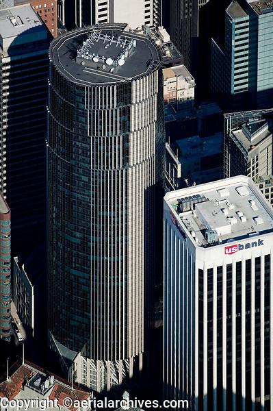 aerial photograph 101 California Street & 100 CA St US Bank San Francisco adjacent office towers
