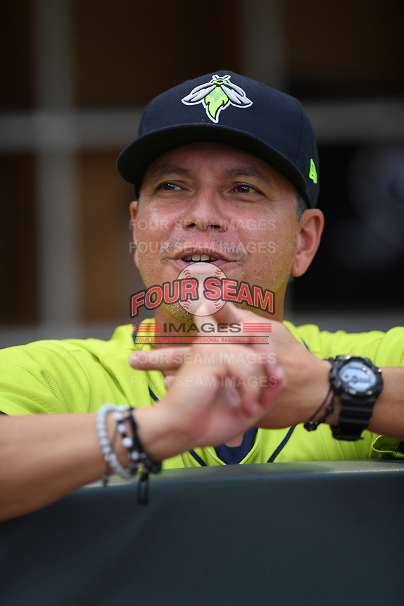 Manager Pedro Lopez (16) of the Columbia Fireflies in a game against the Hickory Crawdads on Tuesday, August 27, 2019, at Segra Park in Columbia, South Carolina. Columbia won, 3-2. (Tom Priddy/Four Seam Images)