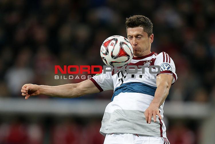 08.04.2015, BayArena, Leverkusen, DFB Pokal, Bayer 04 Leverkusen vs. Bayern M&uuml;nchen<br /> Robert Lewandowski (M&uuml;nchen)<br /> Foto &copy; nordphoto /  Bratic
