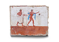 "Greek Fresco on the inside of Tomb of  the Diver  [La Tomba del Truffatore]. The dead man is depicted listenening to the flute of Eros which causes him to be distracted from the real world so being able to enter the next The tomb is painted with the true fresco technique and its importance lies in being ""the only example of Greek painting with figured scenes dating from the Orientalizing, Archaic, or Classical periods to survive in its entirety .Paestrum, Andriuolo.  (480-470 BC  )"