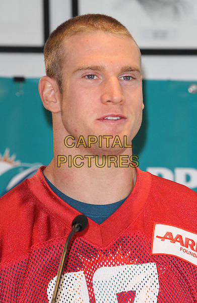 LONDON, ENGLAND - SEPTEMBER 26:Quarterback Ryan Tannehill at the Miami Dolphins Press Conference and Practice at Saracens Rugby Club, North London. Miami jetted in early Friday and are here to play in the latest NFL International Series game at Wembley Stadium on Sunday vs Oakland Raiders, on September 26, 2014 in London, England<br /> CAP/JIL<br /> Jill Mayhew/Capital Pictures