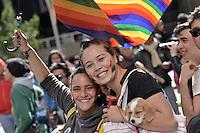 BOGOTÁ -COLOMBIA. 28-06-2015: Participantes de la Marcha LGBTI 2015 se congregaron en el centro de Bogotá, Colombia, hoy 28 de junio de 2015./ Participants march in the Gay Pride Parade 2015 on June 28, 2015 at Bogota, Colombia streets. Photo: VizzorImage/ Gabriel Aponte / Staff