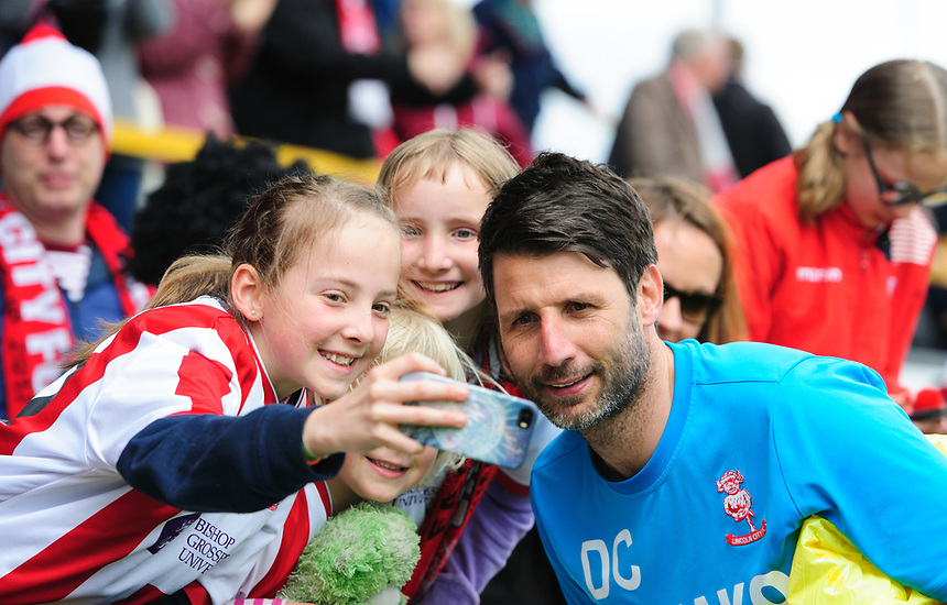 Lincoln City manager Danny Cowley with fans after the game<br /> <br /> Photographer Chris Vaughan/CameraSport<br /> <br /> Vanarama National League - Southport v Lincoln City - Saturday 29th April 2017 - Merseyrail Community Stadium - Southport<br /> <br /> World Copyright &copy; 2017 CameraSport. All rights reserved. 43 Linden Ave. Countesthorpe. Leicester. England. LE8 5PG - Tel: +44 (0) 116 277 4147 - admin@camerasport.com - www.camerasport.com