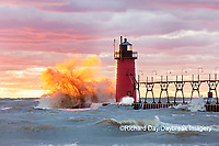 64795-02416 South Haven Lighthouse at sunset South Haven,  MI