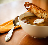 Food photography of a bowl of soup. Photo by studio photographer Matthew Lemke