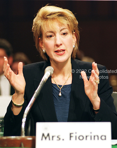 "Carly Fiorina, President and CEO; Hewlett-Packard Company, testifies before the United States Congress Joint Economic Committee on ""Removing Barriers to the New Economy"" in Washington, DC on Wednesday, June 7, 2000..Credit: Ron Sachs / CNP"