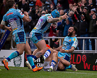 Exeter Chiefs' Tom O'Flaherty celebrates his sides fourth try<br /> <br /> Photographer Bob Bradford/CameraSport<br /> <br /> European Rugby Heineken Champions Cup Pool 2 - Exeter Chiefs v Castres - Sunday 13th January 2019 - Sandy Park - Exeter<br /> <br /> World Copyright © 2019 CameraSport. All rights reserved. 43 Linden Ave. Countesthorpe. Leicester. England. LE8 5PG - Tel: +44 (0) 116 277 4147 - admin@camerasport.com - www.camerasport.com