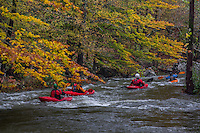 Kayaking the Little Missouri River in the Ouachita National Forest in Akransas after a heavy fall rain.
