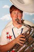 (7 FairKids Joy Falkenberg 08.02.06)  Brent Brown (cq), 16, poses at The Ohio State Fair.  He is from Ravenna, Ohio and is a tuba player in the All Ohio State Fair Band.  Photo to go with NOW! package on kids at the Fair.  (Columbus Dispatch Photo by Barth Falkenberg)