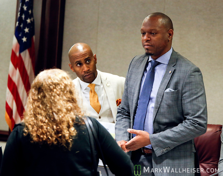 Senator Randolph Bracy (D-Ocoee), right,  Chairman of the Florida Senate Committee on Criminal Justice prior to their committee meeting at the Florida Capitol in Tallahassee Florida March 13, 2017.
