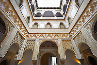 Arabesque Mudjar plasterwork of the 12th century Patio de las Muñecas (Courtyard of the Dolls), . Alcazar of Seville, Seville, Spain