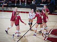 STANFORD, CA - November 2, 2018: Kathryn Plummer, Kate Formico, Jenna Gray, Holly Campbell, Meghan McClure, Morgan Hentz at Maples Pavilion. No. 1 Stanford Cardinal defeated No. 15 Colorado Buffaloes 3-2.