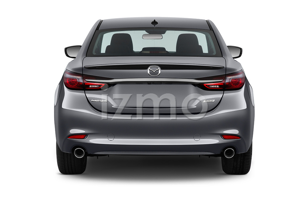 Straight rear view of a 2019 Mazda Mazda6 Grand Touring Reserve 4 Door Sedan stock images