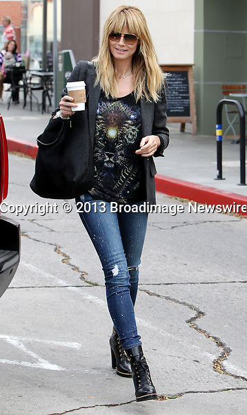 Pictured: Heidi Klum, Johan Samuel, Henry Samuel, Leni Klum, Lou Samuel<br /> Mandatory Credit &copy; ACLA/Broadimage<br /> Heidi Klum and kids get coffee at Starbucks in Brentwood<br /> <br /> 2/2/14, Brentwood, California, United States of America<br /> <br /> Broadimage Newswire<br /> Los Angeles 1+  (310) 301-1027<br /> New York      1+  (646) 827-9134<br /> sales@broadimage.com<br /> http://www.broadimage.com