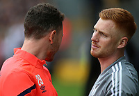 Fulham's Harrison Reed catches up with former teammate Corry Evans before kick off<br /> <br /> Photographer David Shipman/CameraSport<br /> <br /> The EFL Sky Bet Championship - Fulham v Blackburn Rovers - Saturday 10th August 2019 - Craven Cottage - London<br /> <br /> World Copyright © 2019 CameraSport. All rights reserved. 43 Linden Ave. Countesthorpe. Leicester. England. LE8 5PG - Tel: +44 (0) 116 277 4147 - admin@camerasport.com - www.camerasport.com
