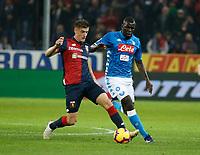 Krzysztof Piatek of Genoa  and Kalidou Koulibaly of Napoli   during  Genoa -   Napoli Stadio Luigi Ferraris, Genoa, Italy; Serie A football 10th November 2018