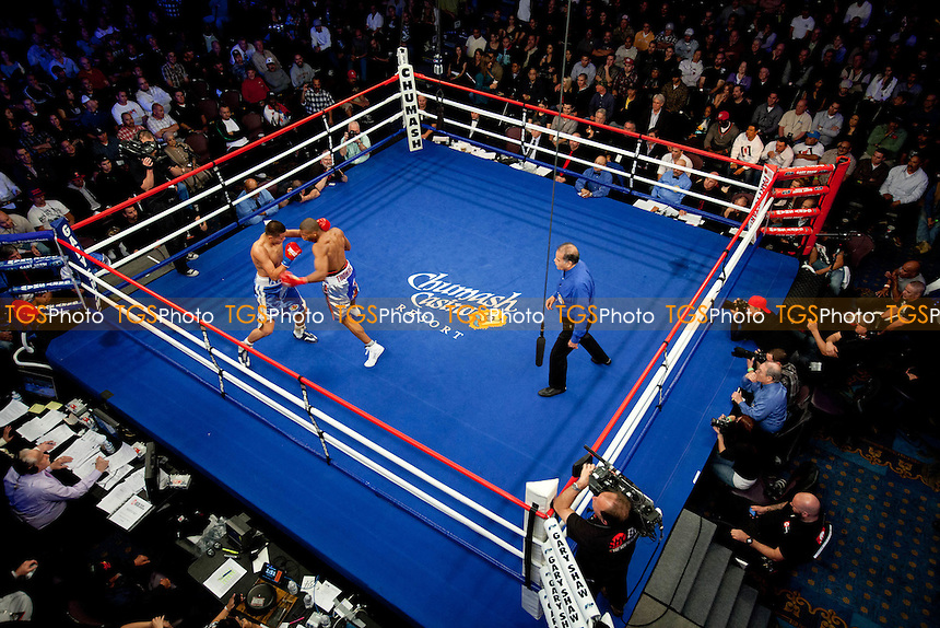 Thomas Dulorme (13-0-0, 10 KOs) from Carolina, Puerto Rico in orange/silver/blue shorts defeated Ariz Ambriz (16-2-1, 8 KOs) from Azusa, California, in blue shorts in a 10 round NABF Welter Weight Title bout by a knockout in the first round - ShoBox: The New Generation (Showtime network) at the Chumash Casino Resort in Santa Ynez, California, produced by Gary Shaw Productions - 17/2/12 - Dwight McCann/TGSPHOTO - Self billing applies where appropriate - 0845 094 6026 - contact@tgsphoto.co.uk - NO UNPAID USE