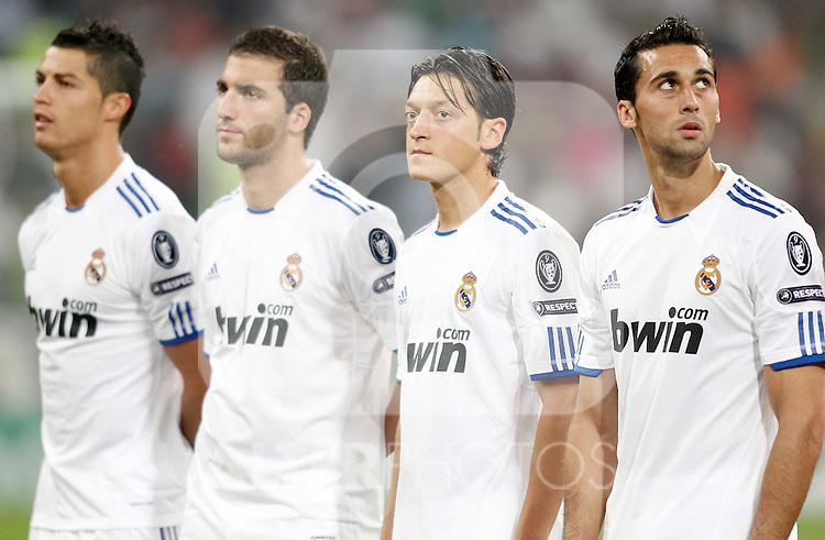 Real Madrid's Cristiano Ronaldo, Gonzalo Higuain, Mesut Özil and Ricardo Carvalho before Champions League match. September 15, 2010. (ALTERPHOTOS/Alvaro Hernandez)