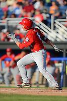 Auburn Doubledays third baseman Cody Gunter #8 during a game against the Batavia Muckdogs on June 18, 2013 at Dwyer Stadium in Batavia, New York.  Batavia defeated Auburn 10-2.  (Mike Janes/Four Seam Images)