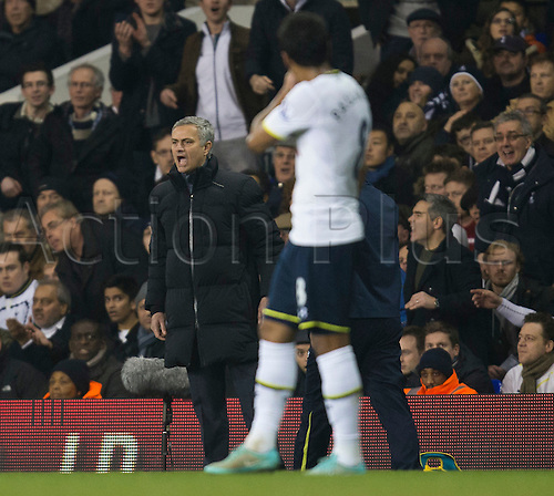 01.01.2015.  London, England. Barclays Premier League. Tottenham versus Chelsea. José Mourinho, the Chelsea manager  is less than impressed on the touchline.