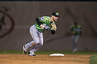 Eugene Emeralds second baseman Levi Jordan (20) during a Northwest League game against the Salem-Keizer Volcanoes at Volcanoes Stadium on August 31, 2018 in Keizer, Oregon. The Eugene Emeralds defeated the Salem-Keizer Volcanoes by a score of 7-3. (Zachary Lucy/Four Seam Images)