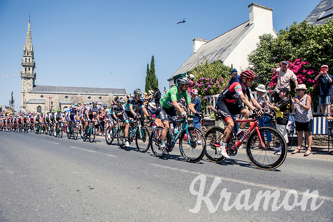 green jersey Peter Sagan (SVK/Bora Hansgrohe) in the peloton rolling through town. <br /> <br /> <br /> Stage 6: Brest > Mûr de Bretagne / Guerlédan (181km)<br /> <br /> 105th Tour de France 2018<br /> ©kramon
