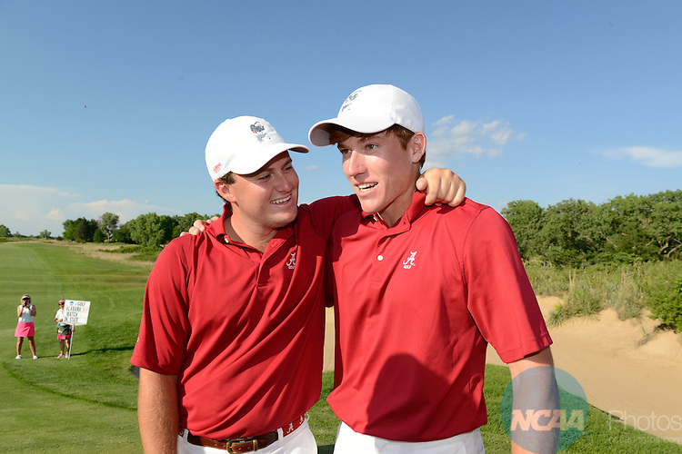 28 MAY 2014: Tom Lovelady (left) and Robby Shelton (right) of the University of Alabama celebrate on hole #17 of Prairie Dunes in Hutchinson, KS after winning the match play at the 2014 NCAA D1 Men's Golf Championship. <br />