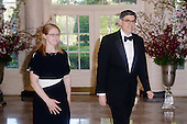 United States Secretary of the Treasury Jacob Lew and Shoshana Lew arrive for the State dinner in honor of Japanese Prime Minister Shinzo Abe and Akie Abe April 28, 2015 at the Booksellers area of the White House in Washington, DC. <br /> Credit: Olivier Douliery / Pool via CNP04