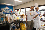 (L to R) Gelato maestro Luciano Ferrari poses for a picture with a Japanese gelato artisan chef during the Gelato World Tour on September 5, 2015, Tokyo, Japan. Over 3 days visitors to the Tokyo event can taste 16 flavours of gelato and will chose the top three flavours to represent the Far East Asia region at the Grand Finale of Gelato World Tour 2.0 to be held in Rimini, Italy in 2017. (Photo by Rodrigo Reyes Marin/AFLO)
