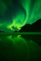 Reflection of northern lights on Haukland beach, Vestvågøy, Lofoten Islands, Norway