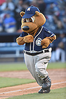 Asheville Tourists mascot Ted E Tourists during a game against the Rome Braves at McCormick Field on April 14, 2016 in Asheville, North Carolina. The Tourists defeated the Braves 5-4. (Tony Farlow/Four Seam Images)