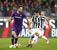 Calcio, Serie A: Fiorentina - Juventus, stadio Artemio Franchi Firenze 9 febbraio 2018.<br /> Fiorentina's Milan Badelj (s) in action with Juventus' Sami Khedira (r) during the Italian Serie A football match between Fiorentina and Juventus at Florence's Artemio Franchi stadium, February 9, 2018.<br /> UPDATE IMAGES PRESS/Isabella Bonotto