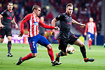 Atletico de Madrid Antoine Griezmann and Arsenal FC Hector Bellerin during Europa League Semi Finals First Leg match between Atletico de Madrid and Arsenal FC at Wanda Metropolitano in Madrid, Spain. May 03, 2018.  (ALTERPHOTOS/Borja B.Hojas)