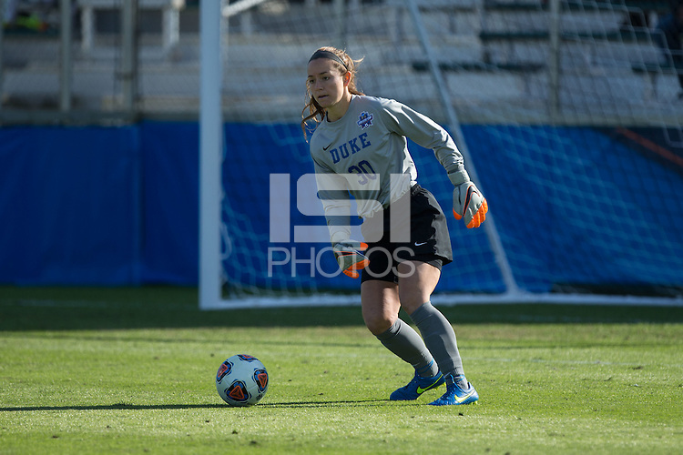 Cary, North Carolina - Sunday December 6, 2015: EJ Proctor (30) of the Duke Blue Devils during second half action against the Penn State Nittany Lions at the 2015 NCAA Women's College Cup at WakeMed Soccer Park.  The Nittany Lions defeated the Blue Devils 1-0.