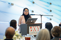 Cynthia Magallanes-Gonzalez '17. Occidental College students and faculty gather at the annual Young Student Grant Showcase & Dinner, where Young Student Grant recipients present their research that was sponsored by the John Parke Young Initiative on the Global Economy. Jan. 23, 2017 in the Johnson Global Forum.<br /> (Photo by Marc Campos, Occidental College Photographer)