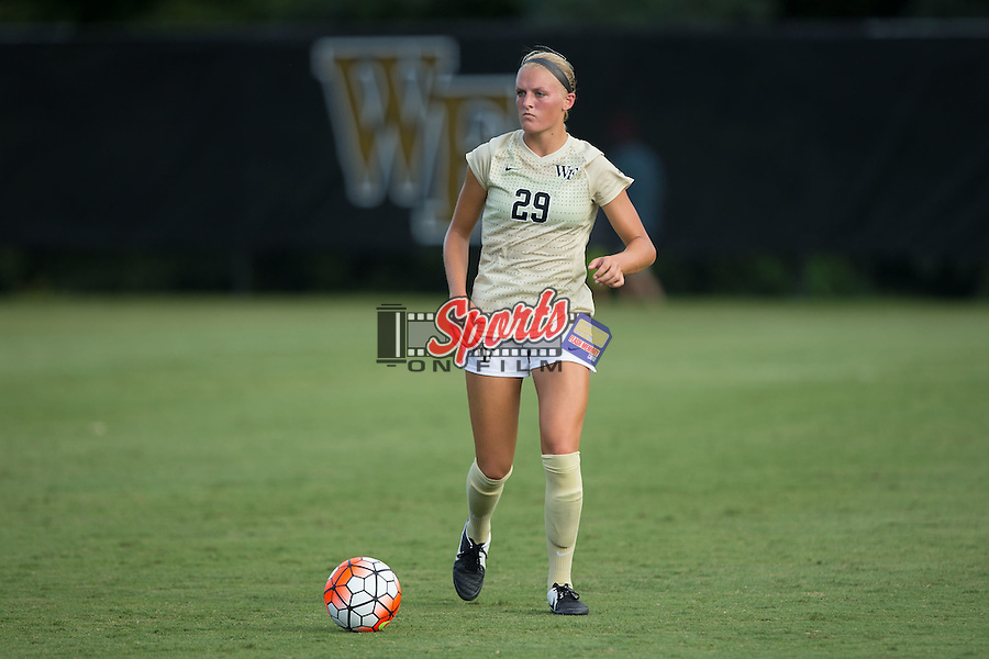 Kate Ravenna (29) of the Wake Forest Demon Deacons controls the ball during second half action against the Georgia Bulldogs at Spry Soccer Stadium on August 23, 2015 in Winston-Salem, North Carolina.  The Deacons defeated the Bulldogs 4-0.  (Brian Westerholt/Sports On Film)