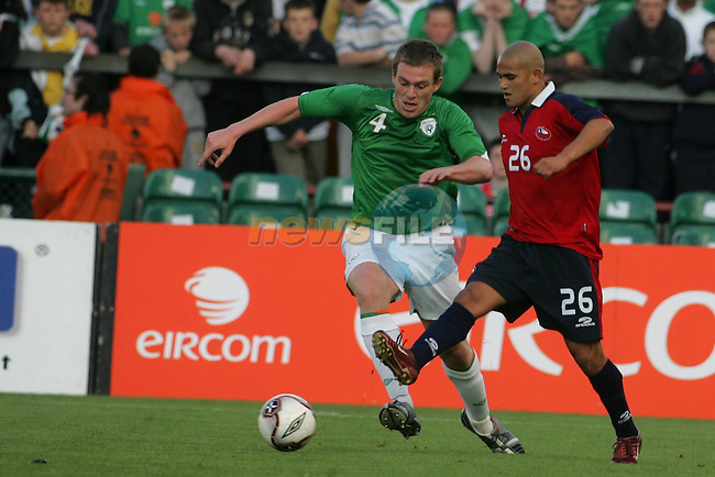 Dublin Ireland. Irelands No 4 Richard Dunne holds off Chile No 26 Humberto Suazo Pontivo during the friendly soccer international at Lansdowne road Dublin Ireland 24/5/06.Photo AFP/NEWSFILE/FRAN CAFFREY..(Photo credit should read AFP PHOTO/FRAN CAFFREY/NEWSFILE)...This Picture has been sent you under the condtions enclosed by:.Newsfile Ltd..the Studio,.Millmount Abbey,.Drogheda,.Co Meath..Ireland..Tel: +353(0)41-9871240.Fax: +353(0)41-9871260.GSM: +353(0)86-2500958.email: pictures@newsfile.ie.www.newsfile.ie.FTP: 193.120.102.198..This picture is from Fran Caffrey@newsfile.ie