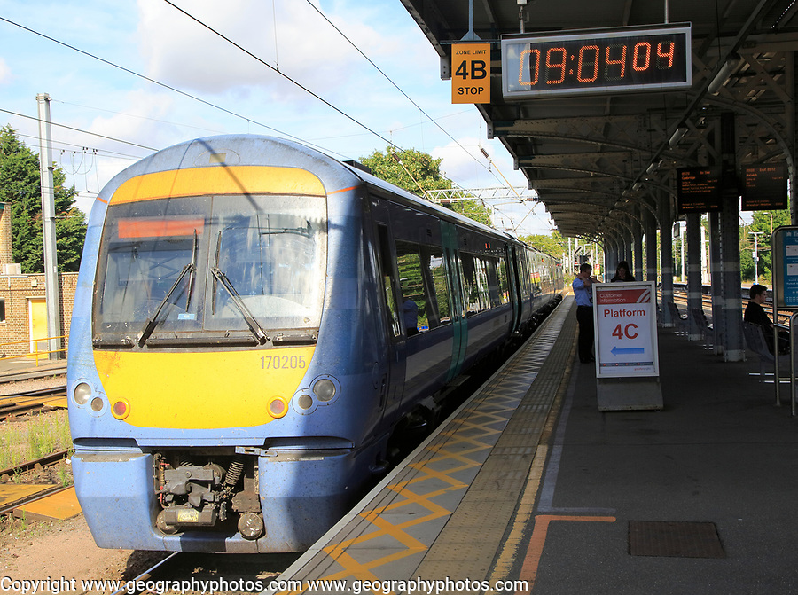 Greater Anglia train at platform Ipswich railway station, Suffolk, England, UK