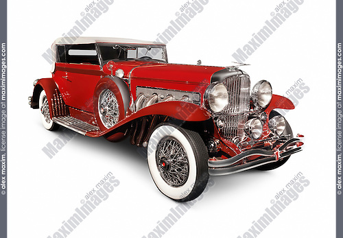 Red 1930 Duesenberg Model SJ Convertible Victoria by Rollston luxury classic vintage car isolated on white background with clipping path