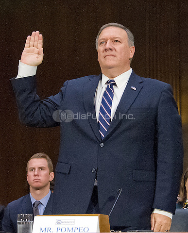 United States Representative Mike Pompeo (Republican of Kansas) is sworn-in to testify before the US Senate Select Committee on Intelligence during a confirmation hearing on his nomination to be Director of the Central Intelligence Agency (CIA) on Capitol Hill in Washington, DC on Thursday, January 12, 2017.<br /> Credit: Ron Sachs / CNP /MediaPunch