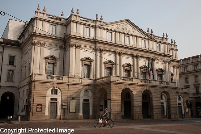 Main Facade of Scala Theatre in Milan, Italy