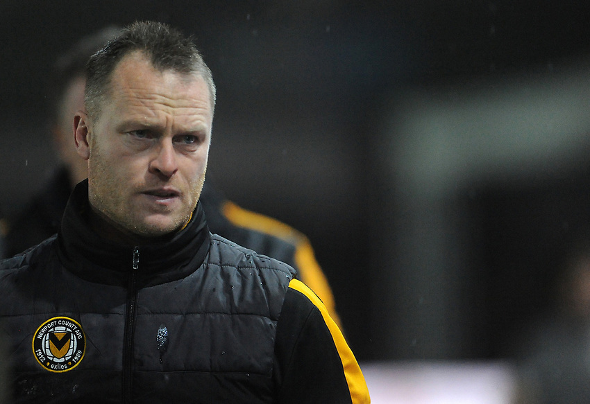Newport County manager Michael Flynn prior to kick off <br /> <br /> Photographer Ian Cook/CameraSport<br /> <br /> Emirates FA Cup Fourth Round Replay - Newport County v Middlesbrough - Tuesday 5th February 2019 - Rodney Parade - Newport<br />  <br /> World Copyright © 2019 CameraSport. All rights reserved. 43 Linden Ave. Countesthorpe. Leicester. England. LE8 5PG - Tel: +44 (0) 116 277 4147 - admin@camerasport.com - www.camerasport.com